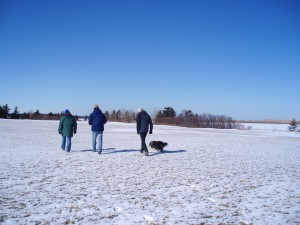Himself, with Fiona, Sandy and Dog walking their winter garden